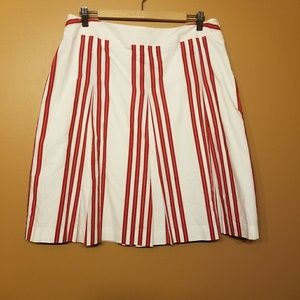 Talbots |Red & White Striped A-Line Skirt-Size 14P